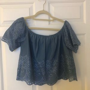 Denim colored OTS lace embroidered top